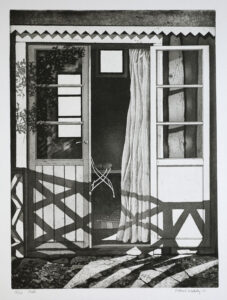 Curtain - Etching by Mikael Wahrby