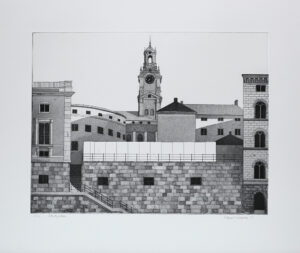 Storkyrkan in Stockholm - Etching by Mikael Wahrby