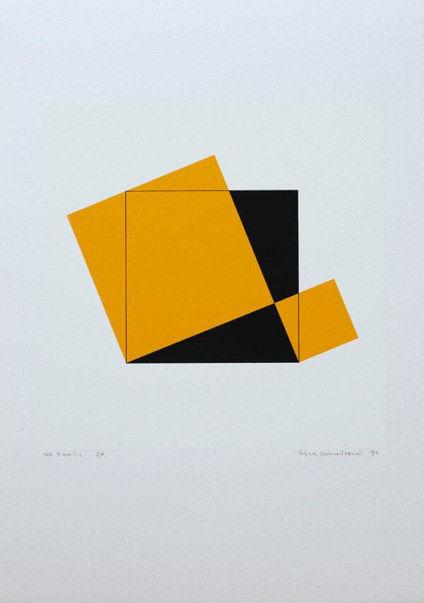Serigrafi Pythagoras 7/21 av Cajsa Holmstrand.