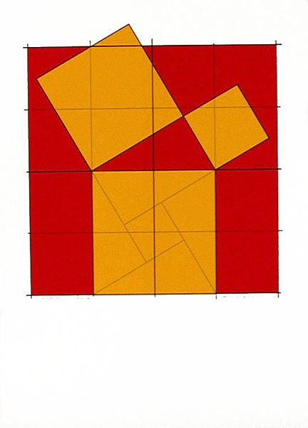 Pythagoras´ Theorem (3) - Silk-Screen by Cajsa Holmstrand.