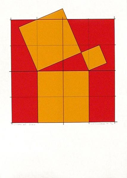 Pythagoras´ Theorem (4) - Silk-Screen by Cajsa Holmstrand.