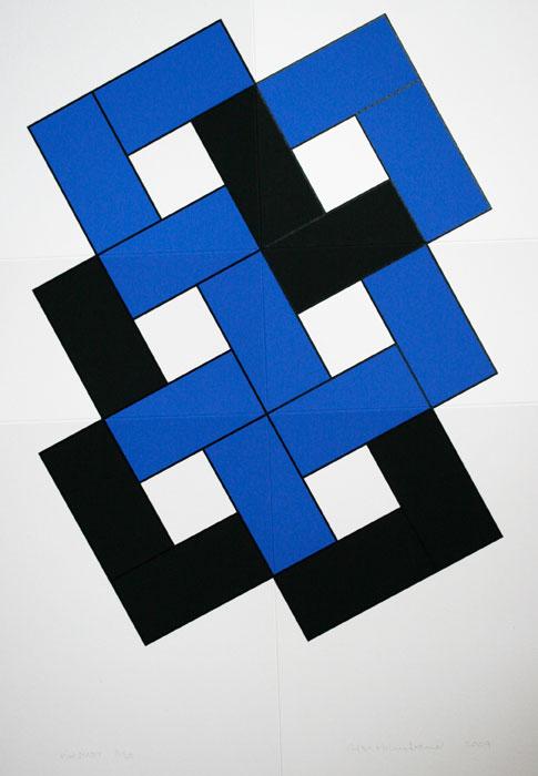 Foldable Blue - Silk-Screen by Cajsa Holmstrand.