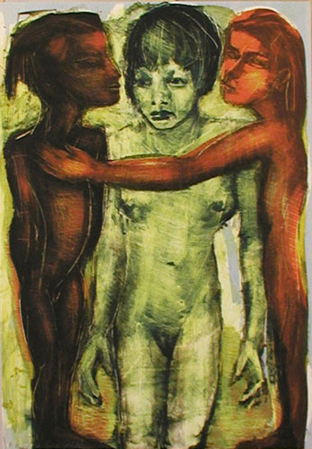 The Girl and the Spirits - Lithograph by Eva Zettervall.