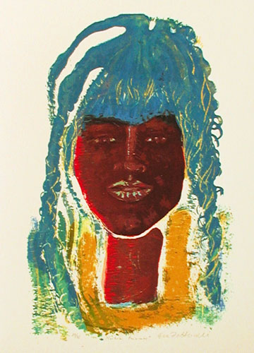 The Nubian Princess - Silk-Screen by Eva Zettervall.