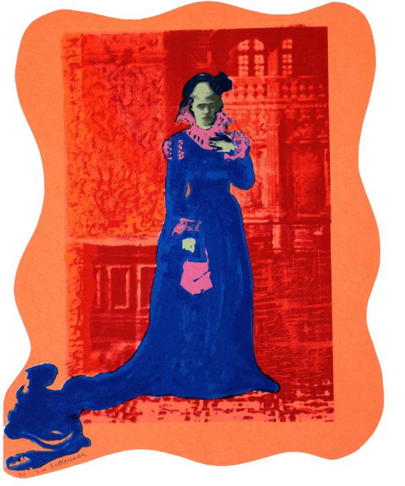 Siri von Essen (orange) - Silk-Screen by Eva Zettervall.