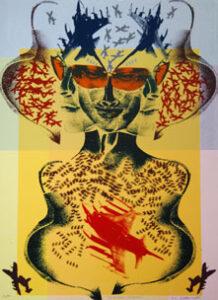 Serigrafi American Psycho av Eva Zettervall.