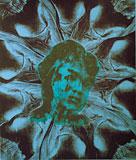 Melancholy girl (blue) - Silk-Screen by Eva Zettervall.