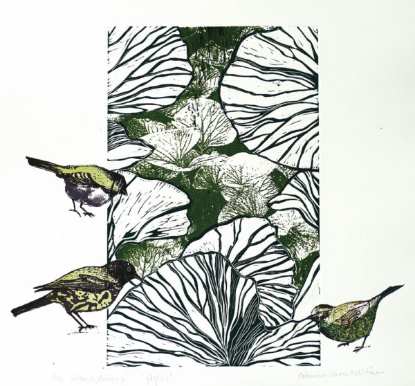 Birds - Linocut/Serigraph by Catharina Warme Hellström.