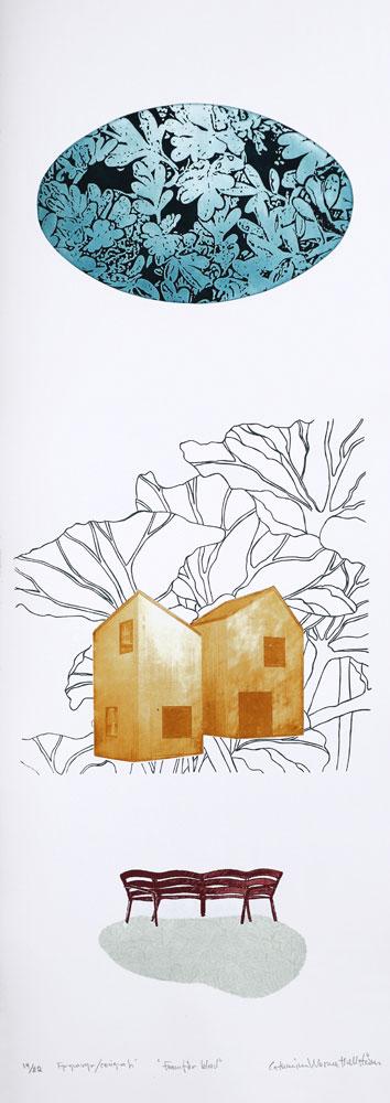 Fp-grafvyr/Serigrafi Framför blad av Catharina Warme Hellström.