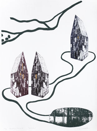 Houses of Glass - Photogravure/Serigraph by Catharina Warme Hellström.