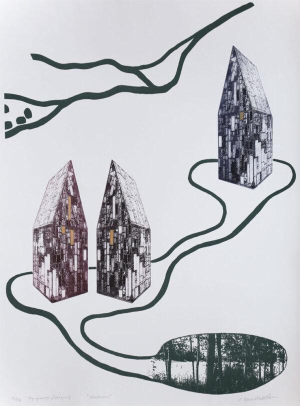 Fp-gravyr/Serigrafi Glashusen av Catharina Warme Hellström.