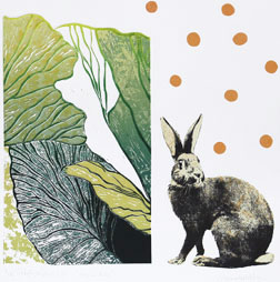 Bunny's Dream - Linocut/Serigraph by Catharina Warme Hellström.
