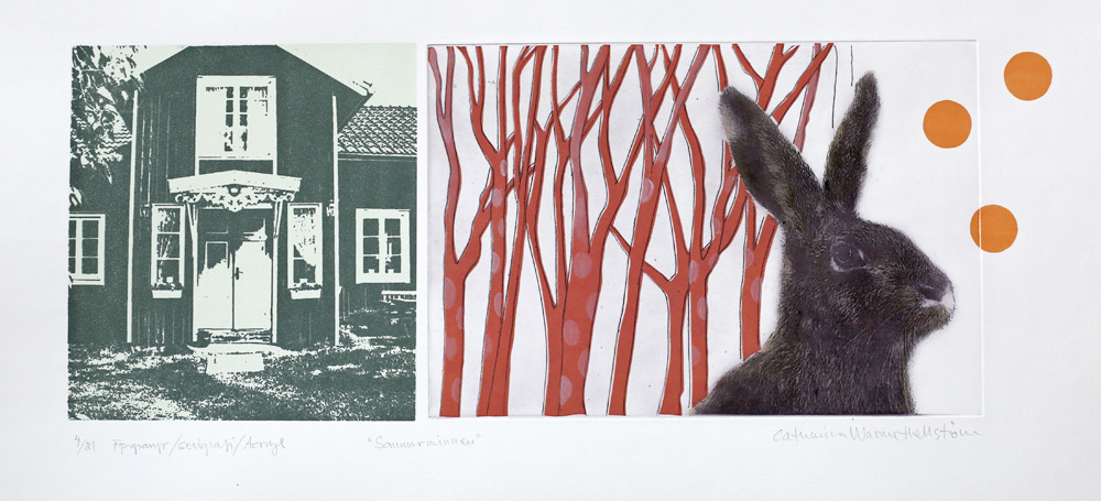 Summer Memories - Photogravure/Serigraph/ Acrylic by Catharina Warme Hellström.