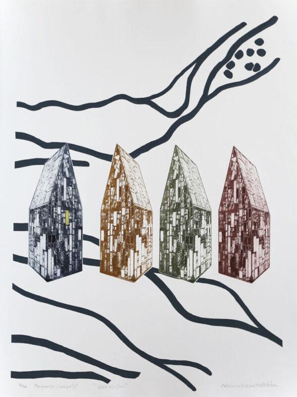 Fp-gravyr/Serigrafi Stad av glas av Catharina Warme Hellström.