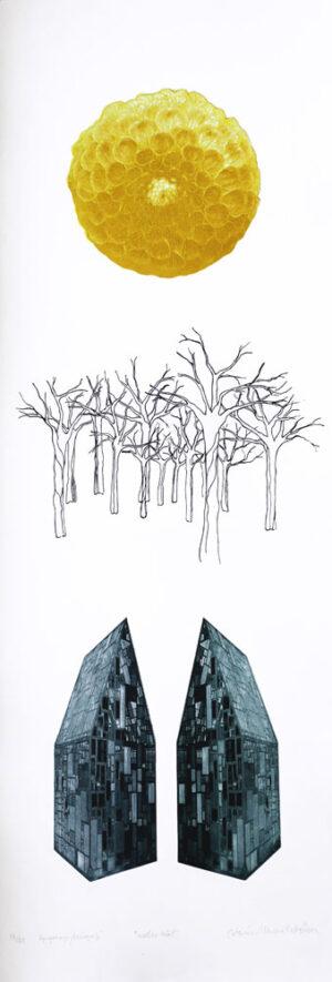 Fp-gravyr/Serigrafi Under träd av Catharina Warme Hellström.