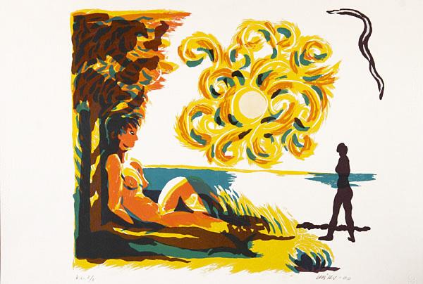 Serigrafi Solkurbits av Olle Kåks.