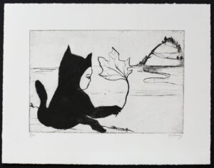 Cat with a Leaf - Drypoint by Katarina Lönnby.