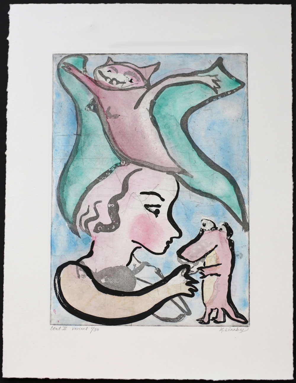 Self-portrait with Crocodile - Hand colored etching by Katarina Lönnby.