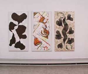 Tre målningar av Olle Kåks - utställning på Konstakademien 2002 i Stockholm.
