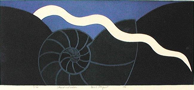 Färgetsning Strand med snäcka av Nils G Stenqvist.