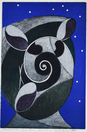 Broken Shell and Starry Sky - Etching/Aquarelle Nils G Stenqvist.
