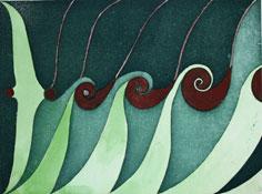Akvarellerad etsning Växtkraft I av Nils G. Stenqvist.