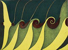 Akvarellerad etsning Växtkraft II av Nils G. Stenqvist.