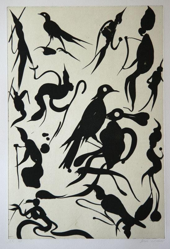 Birdlovers - Aquatint Etching by Dan Wirén.