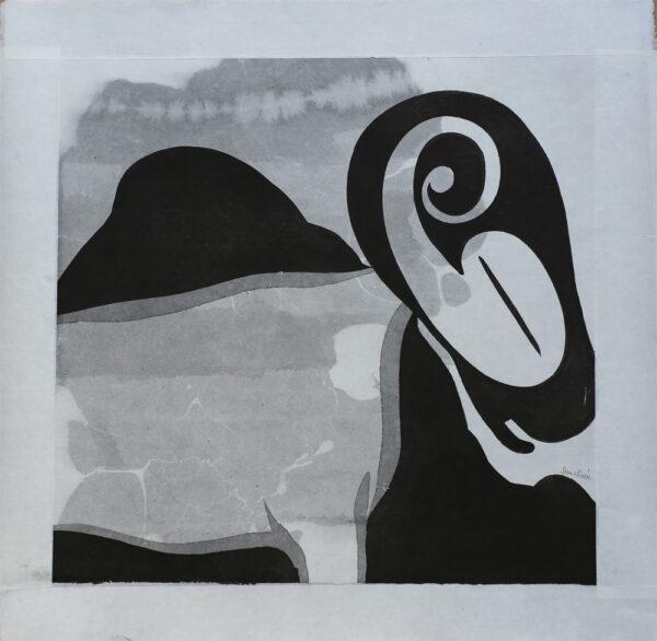 Monterad tuschmålning Häst med nummer av Dan Wirén.