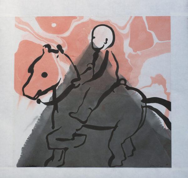 Monterad tuschmålning Ryttare av Dan Wirén.