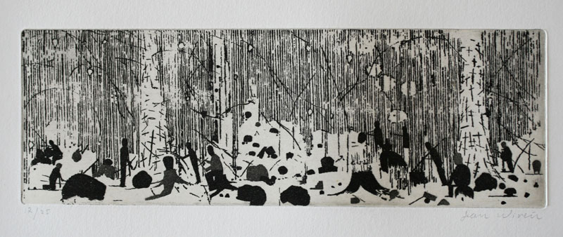 Society - Aquatint Etching by Dan Wirén.