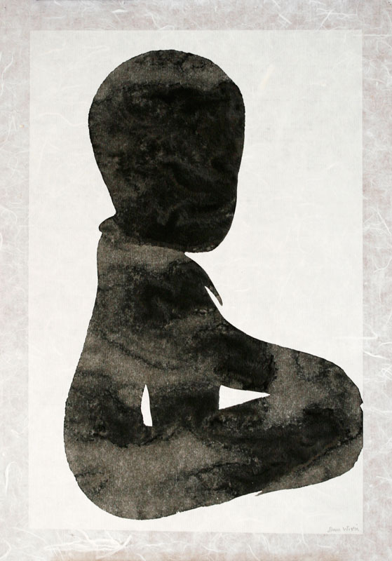 Seated Boy I - Painting, indian ink by Dan Wirén.