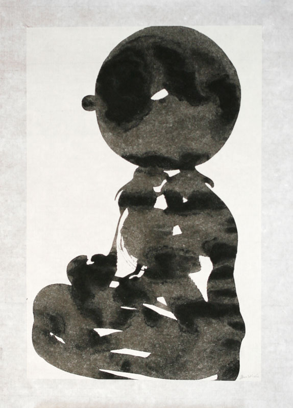 Seated Boy II - Painting, indian ink by Dan Wirén.