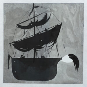 Ship - Painting, indian ink by Dan Wirén.