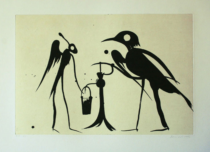 At the Pump - Aquatint Etching by Dan Wirén.
