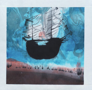 Votive ship - Painting, indian ink by Dan Wirén.