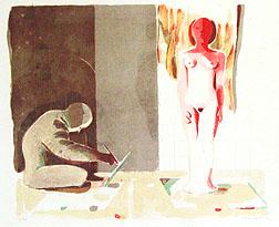 Litografi Tecknaren och modellen av Ulf Gripenholm.