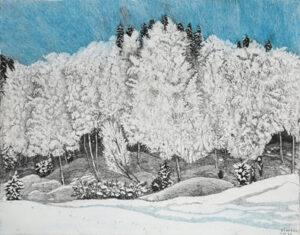 Etsning Rimfrost av Eva Holmér Edling.