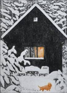 Etsning Tassar i snön av Eva Holmér Edling.