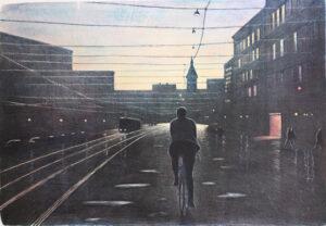 Stenlito Kvällscyklist av Mikael Kihlman.