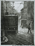 Torrnål Spårvagn i Prag av Mikael Kihlman.