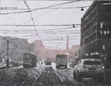 Thinking about Helsinki - Chine-Collé, Drypoint - by Mikael Kihlman.