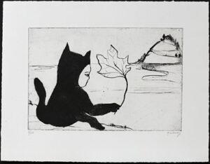 Torrnål Katt med löv av Katarina Lönnby.