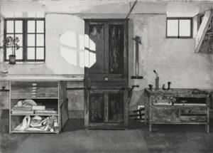 Etsning Akvatintskåp av Mikael Wahrby.
