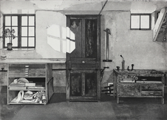 Aquatint Cabinet - Etching by Mikael Wahrby.
