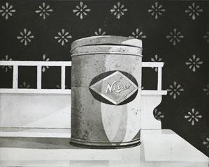 Etsning Plåtburk av Mikael Wahrby.
