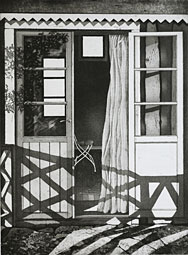 Curtain - Etching by Mikael Wahrby.