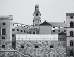 Etsning Storkyrkan av Mikael Wahrby.