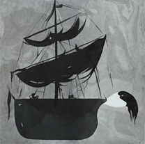 Ship - Painting (indian ink) by Dan Wirén.