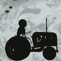 Tractor - Painting (indian ink) by Dan Wirén.